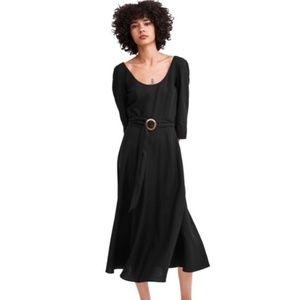 NWT ✨ Zara Trafaluc scoop neck belted dress